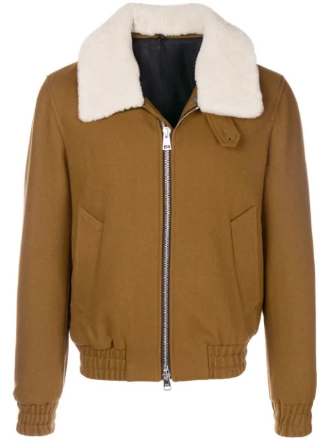 Ami Alexandre Mattiussi Shearling Collar Zipped Jacket In Brown