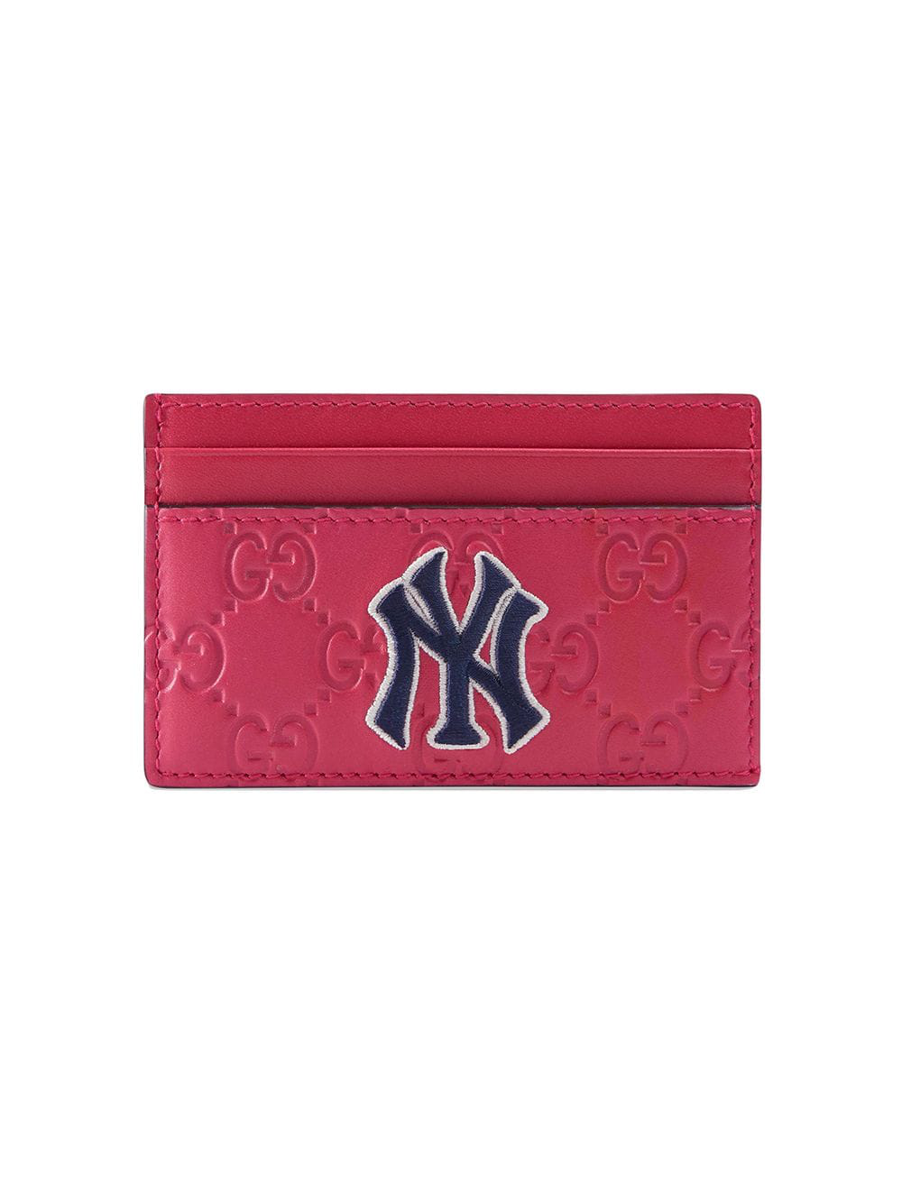 ab124e0e65586 Gucci Card Case With Ny Yankees Trade  Patch In Blue