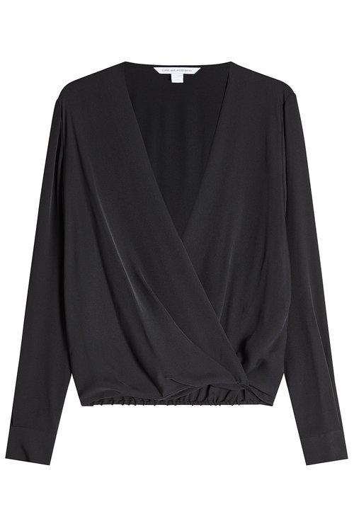 Diane Von Furstenberg Draped Silk Blouse In Black