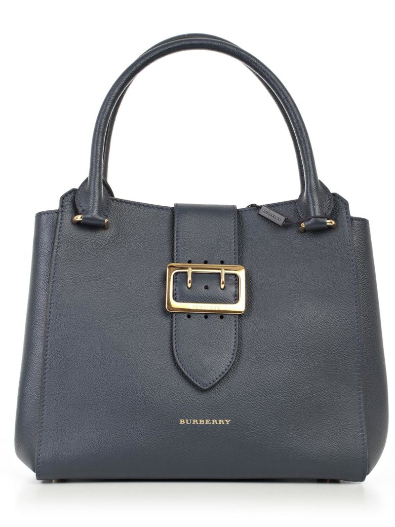 Burberry Medium Buckle Calfskin Leather Tote - Blue In Blue Carbon