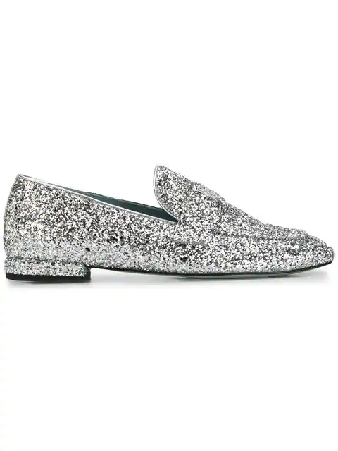 Chiara Ferragni Slip-On Glitter Loafers In Silver