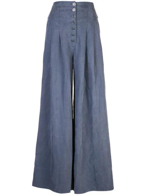 Ulla Johnson Reid Chambray Wide-Leg Pants In Blue