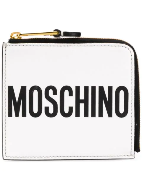 Moschino Leather Wallet With Logo In White