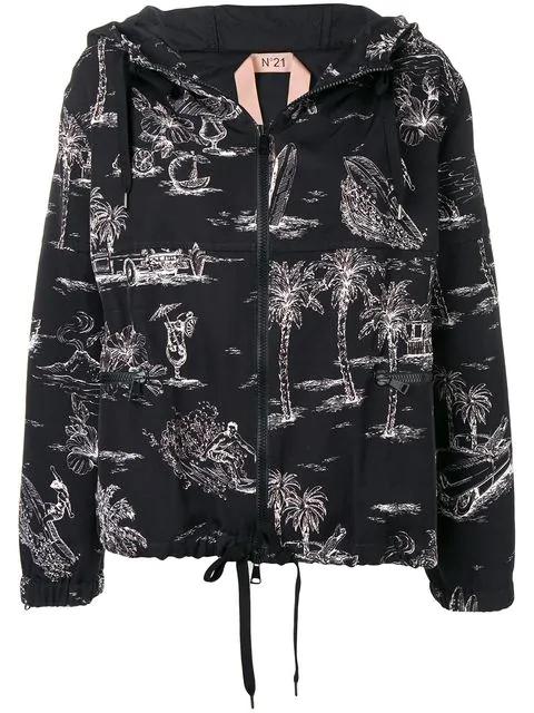 N°21 Palm Trees Hooded Jacket In Black