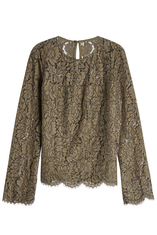 Diane Von Furstenberg Lace Top With Cotton In Green