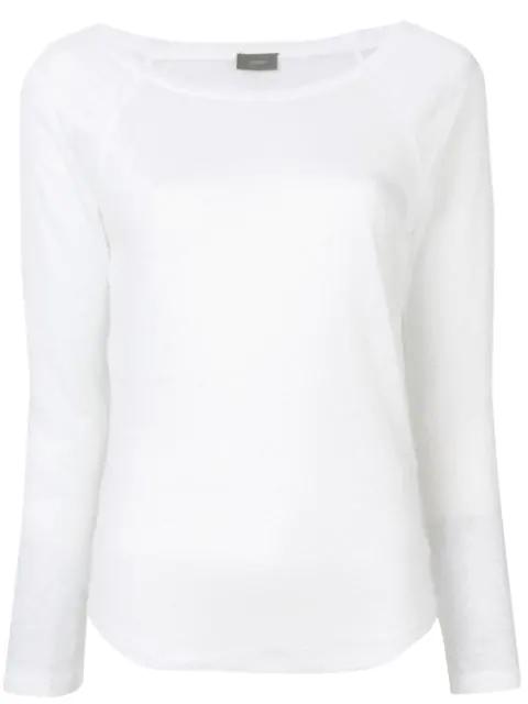 Joseph Round Neck Sweater In White