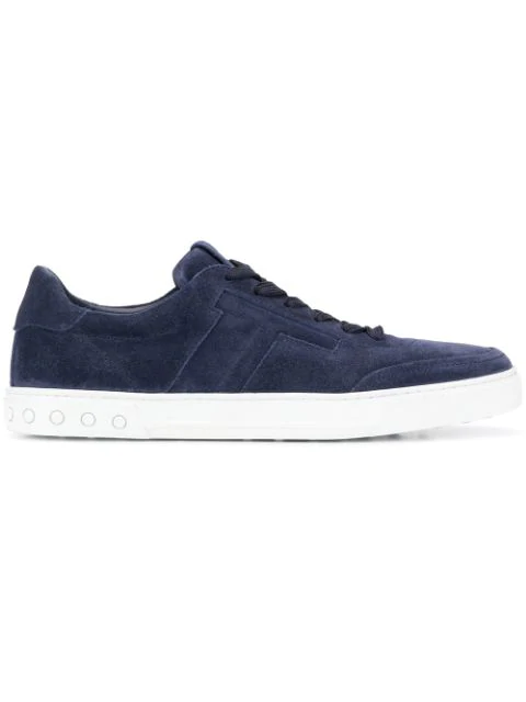 Tod's Blue Suede Sneakers With Padded T