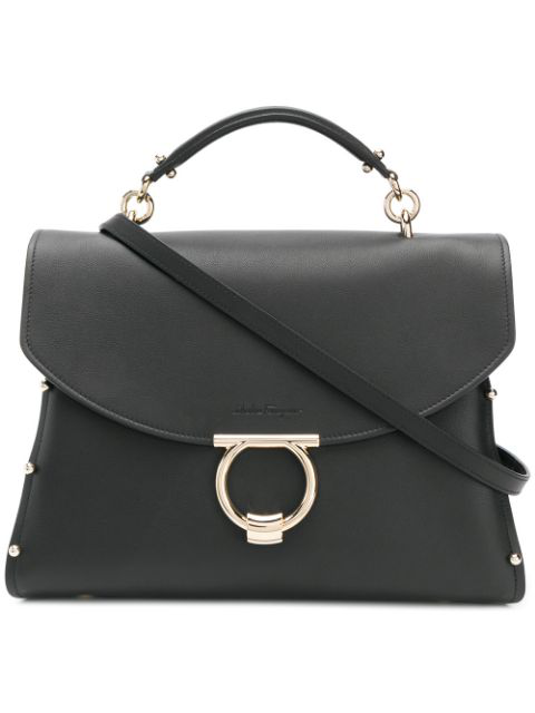 Salvatore Ferragamo Margot Top Handle Bag In Black
