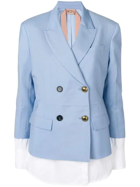 N°21 Jacket With Blouse Details In Blue