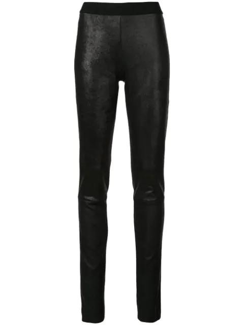 Ann Demeulemeester High-rise Nappa Leather Leggings In Black