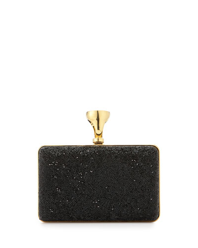 Tom Ford Micro-Crystal Ring-Lock Box Clutch Bag In Black