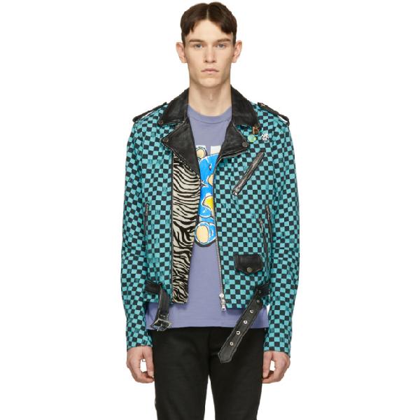 Amiri Artist Checkered Denim And Leather Biker Jacket In Blue