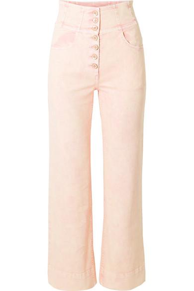 Ulla Johnson Ellis High-Rise Straight-Leg Jeans In Baby Pink
