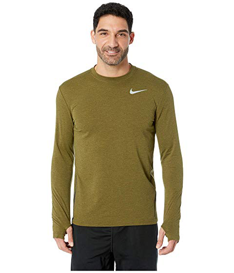 Nike Sphere Element Top Crew Long Sleeve 2.0, Olive Canvas/Heather