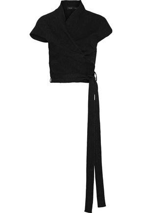 Proenza Schouler Woman Asymmetric Stretch-Knit Wrap Top Black