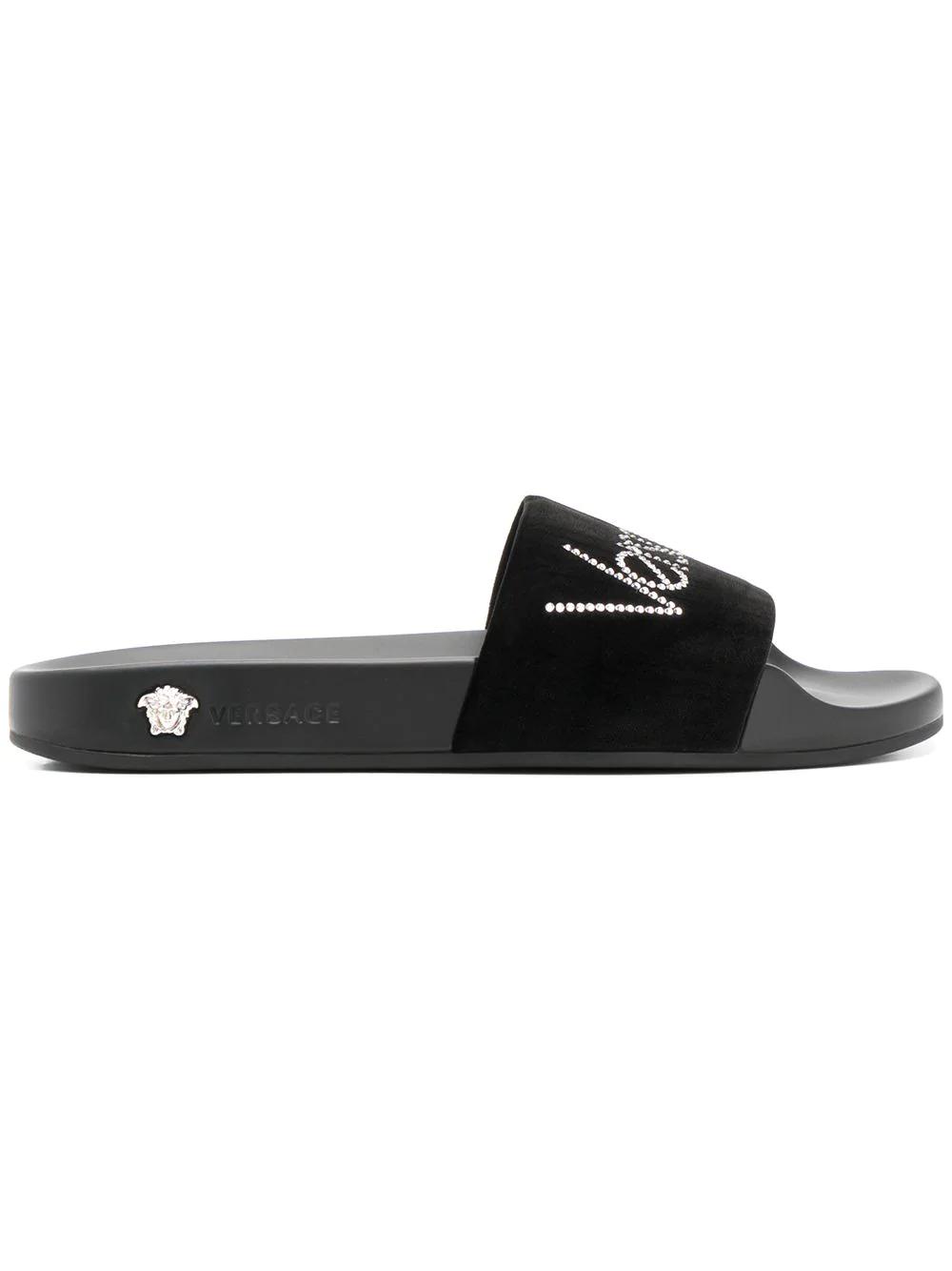 Versace Sandalen Mit Logo - Schwarz In Black