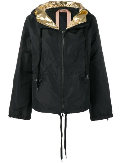 N°21 Oversized Hooded Jacket In Black