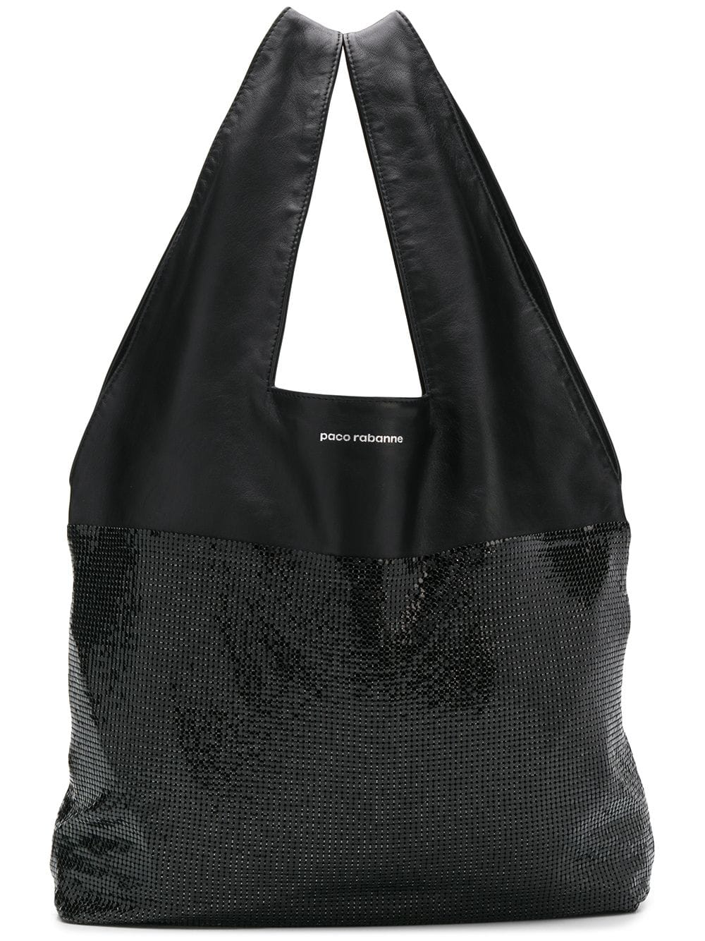 Paco Rabanne Panelled Slouchy Tote In Black