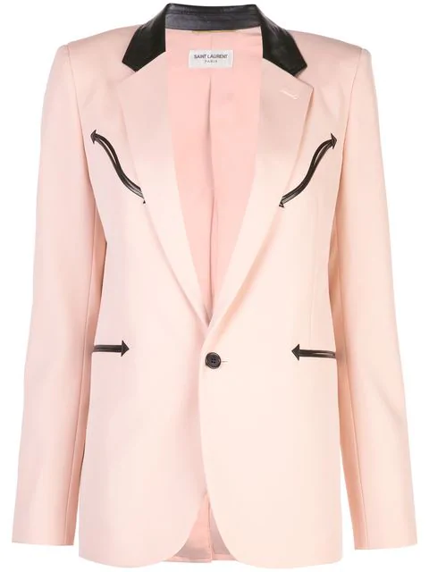 Saint Laurent Single Breasted Blazer In Pink