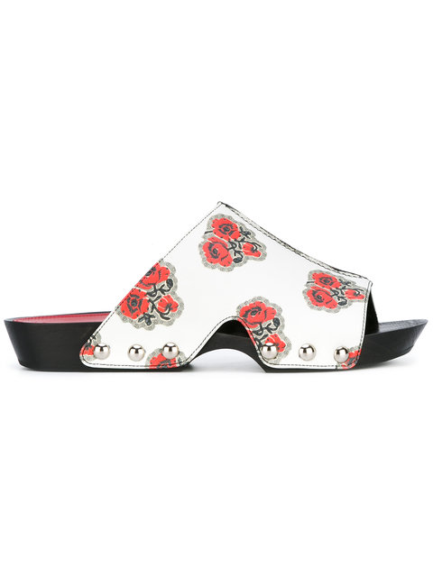 Alexander Mcqueen Rose-print Leather Mule Sandal, Ivory/multi, Ivory/multicockta