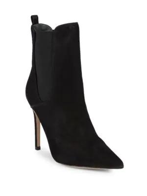 Schutz Side-gore Stiletto Heel Leather Bootie In Black