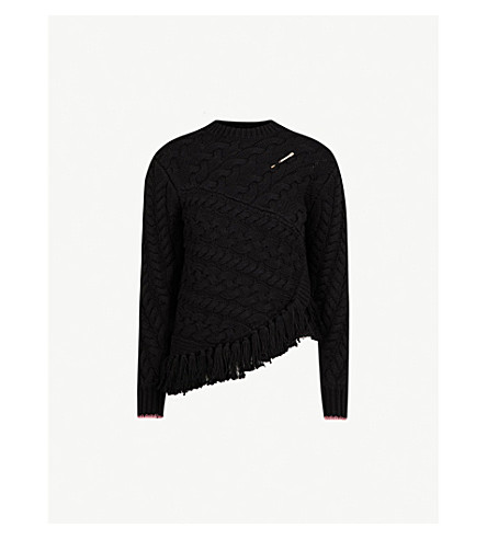 Ted Baker Colour By Numbers Jaia Cotton And Wool-Blend Jumper In Black
