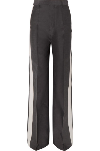 Rick Owens Striped Woven Wide-Leg Pants In Gray