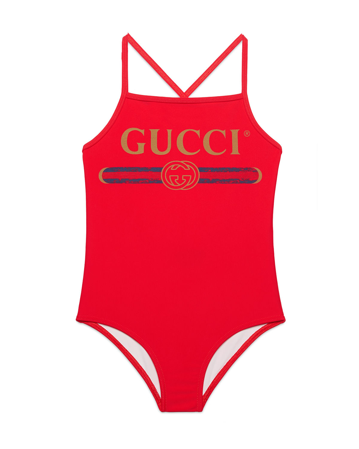 Gucci One-Piece Logo Swimsuit In Red