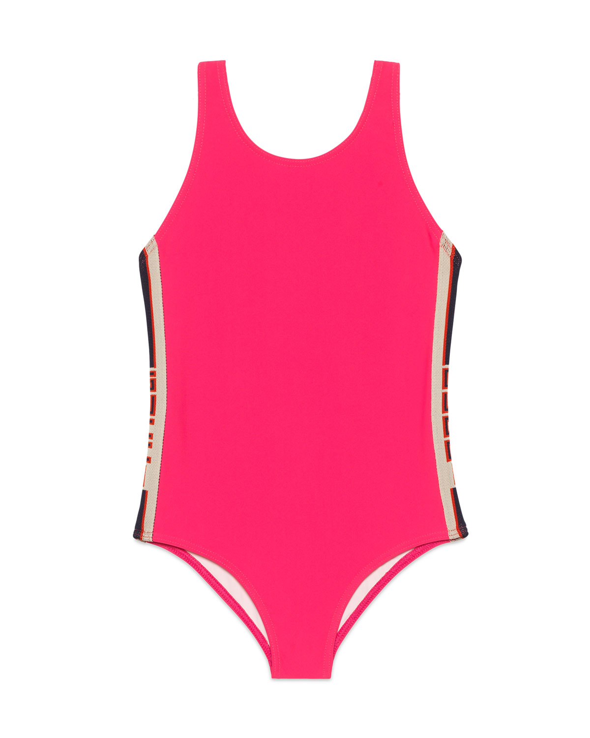 Gucci Solid One-Piece Swimsuit W/ Logo Sides In Pink