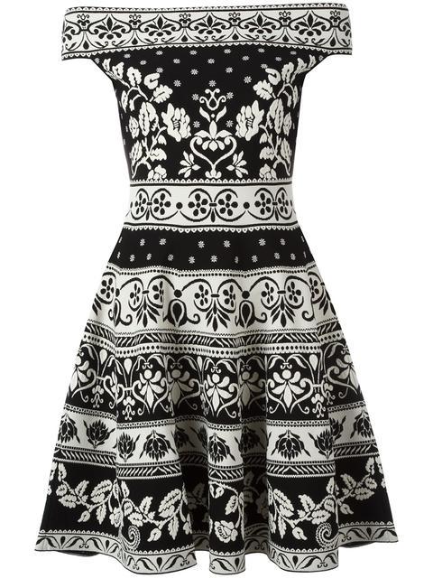 Alexander Mcqueen Off The Shoulder Flared Jacquard Dress, Black/white