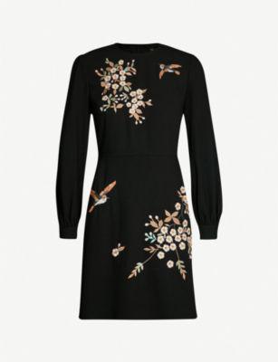 d2b2f603 Ted Baker Lillian Graceful Embroidered Crepe Dress In Black | ModeSens