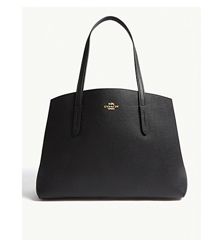 Coach Charlie Leather Tote In Gd/Black