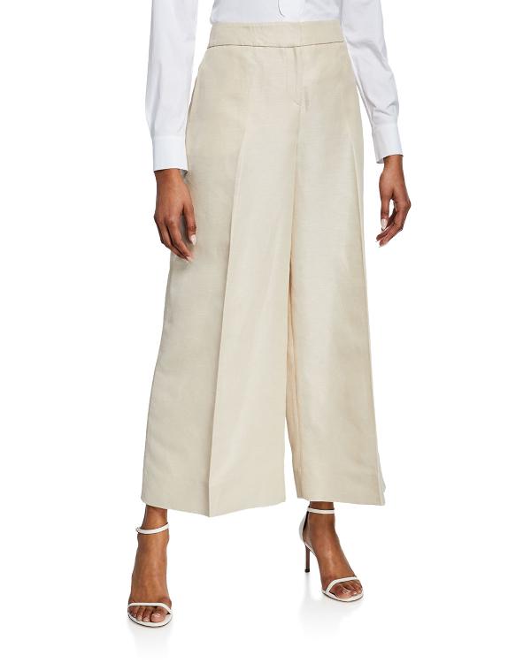 Oscar De La Renta Mid-Rise Wide-Leg Linen Twill Pants In Light Brown