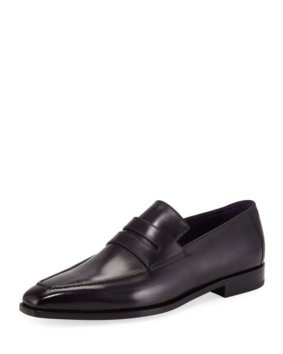 Berluti Men's Andy Calf Leather Penny Loafers In Black