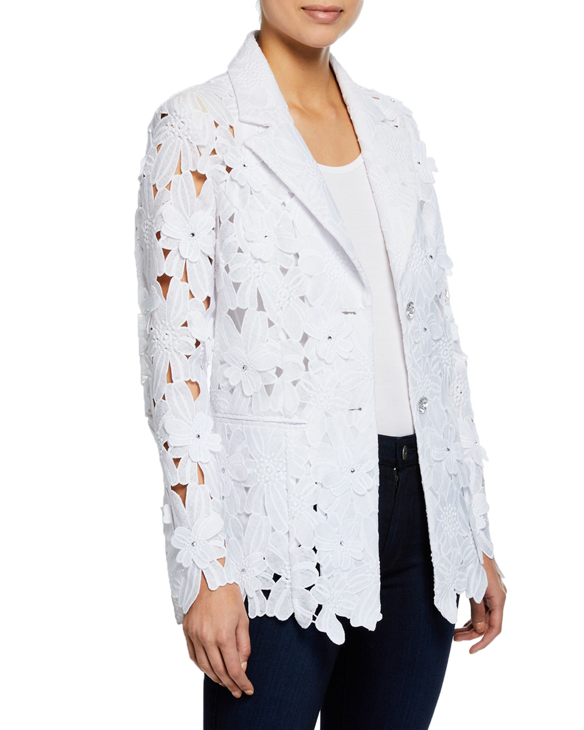 ae4790cb18e6 Berek Plus Size Peek-A-Boo 3D Open Floral Lace Button-Front Jacket ...