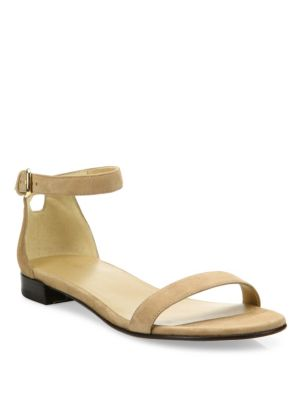 Stuart Weitzman Nudisflat Suede Ankle-strap Sandals In Beige