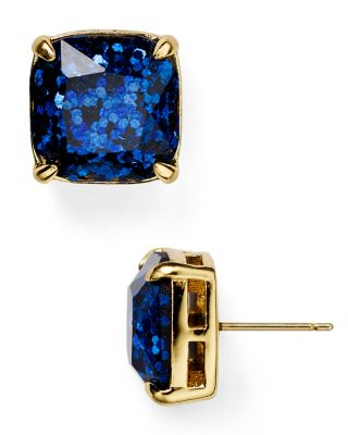 Kate Spade Small Square Glitter Stud Earrings In Navy Glitter