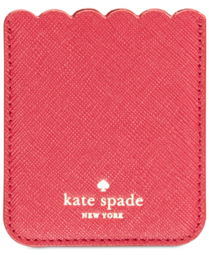 Kate Spade Scallop Pocket Adhesive Card Case In Rosso