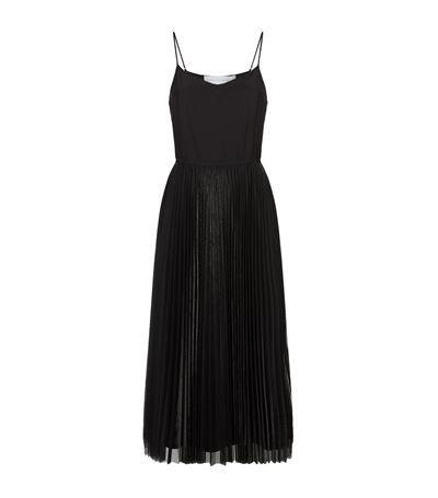 Victoria Victoria Beckham Silk-satin And Pleated Tulle Dress In Black