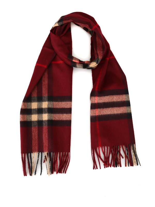 Burberry Giant Icon Check Cashmere Scarf In Red