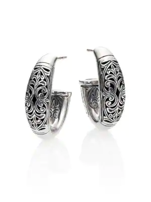 "Konstantino Classics Daphne Sterling Silver Filigree Hoop Earrings/0.9"""