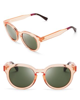 Toms Fin Round Sunglasses, 47mm In Peach Crystal/green Gray