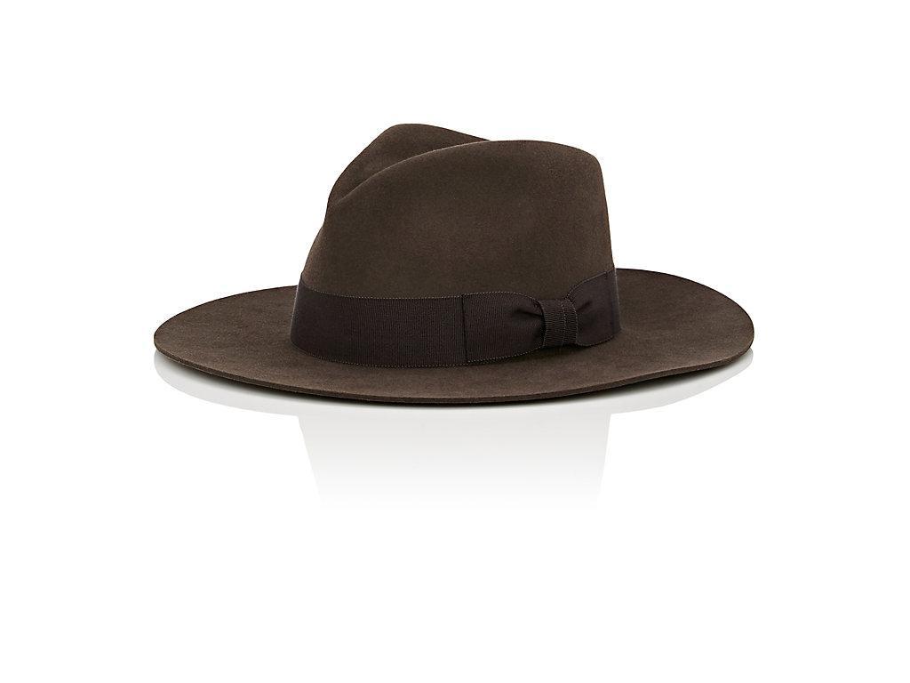 325df0bcb598c Saint Laurent Lapin Fur Felt Wide Brimmed Hat In Dark Grey