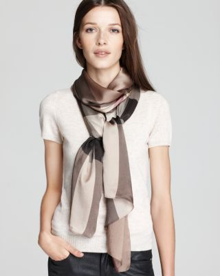 Burberry Core Check Oblong Silk Scarf In Smoked Trench Check