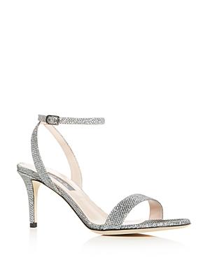 Sjp By Sarah Jessica Parker Women's Gal Glitter Mid-Heel Sandals In Silver