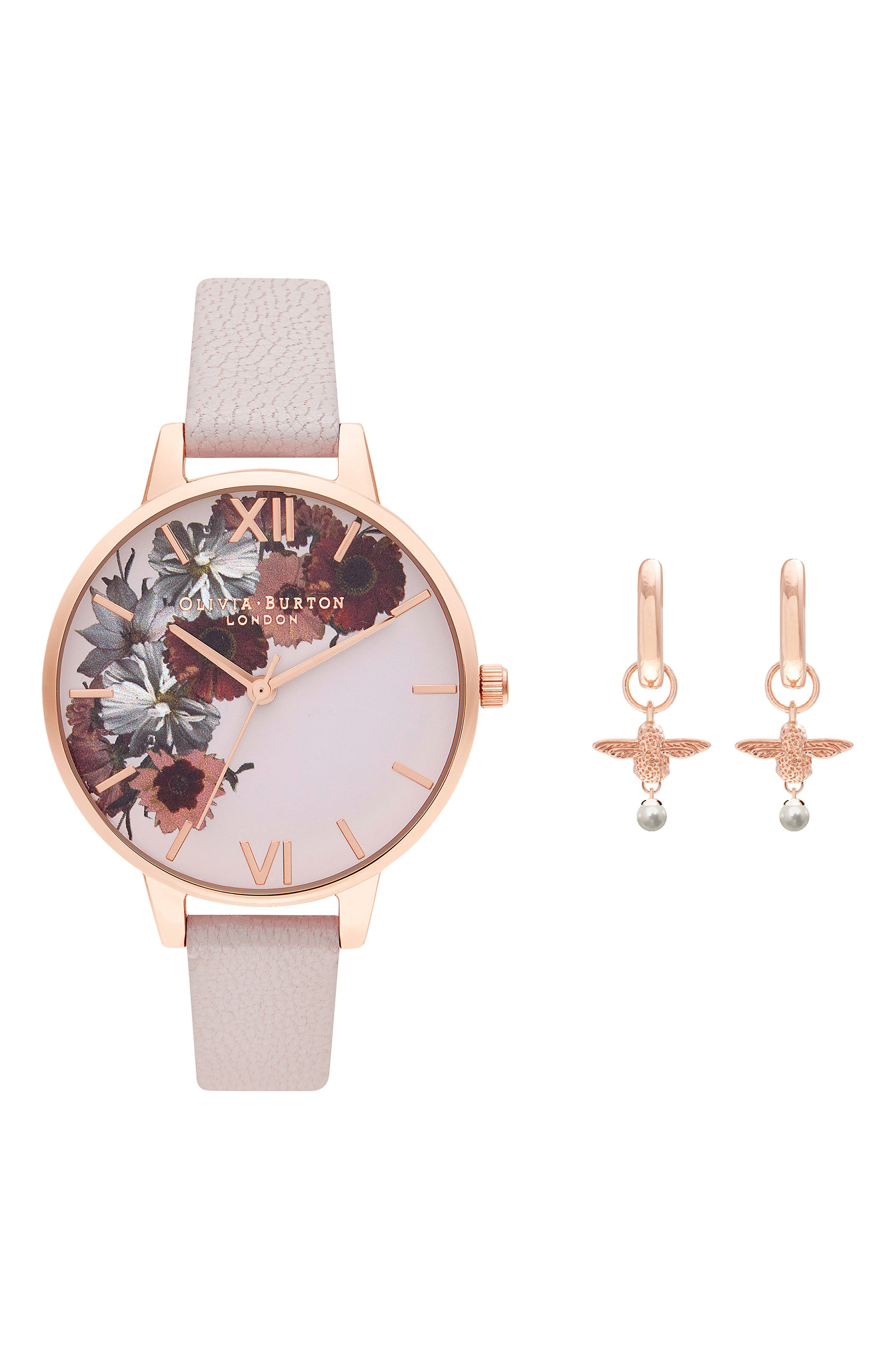 0cec4b3e8 Olivia Burton English Garden Leather Strap Watch Set, 34Mm In Pearl Pink/  Floral/
