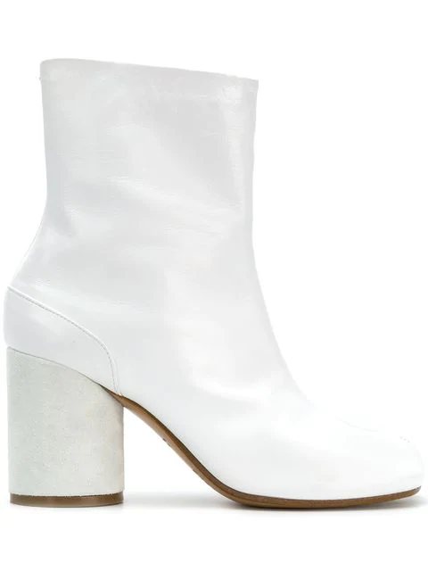 Maison Margiela Tabi High Heels Ankle Boots In White Leather