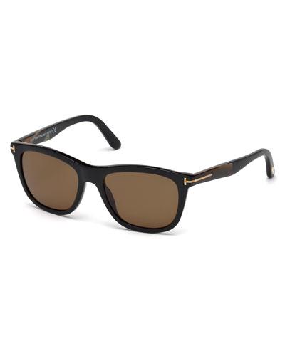 Tom Ford Andrew Square Shiny Acetate Polarized Sunglasses, Black In Black/brown