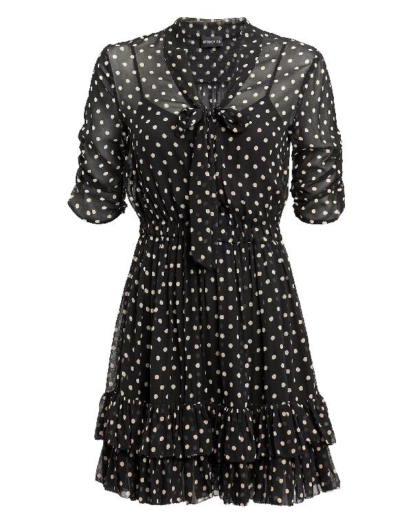 Nicholas Polka Dot Ruffle Mini Dress In Black