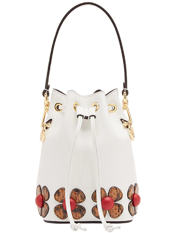 30352db528d Fendi Mon Tresor Calf Bucket Bag In F15Zj-Ice White +Hazelnut | ModeSens